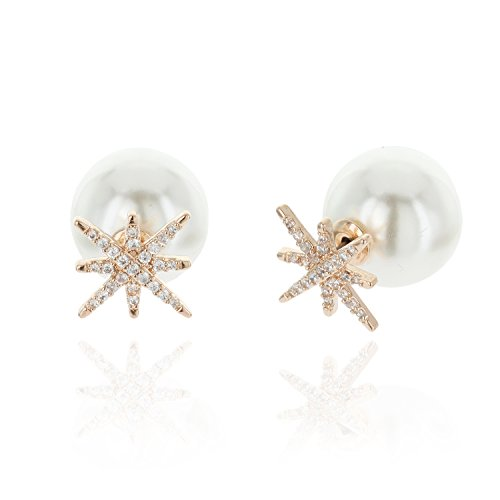 North Star Double Sided AAA Cubic Zirconia And Simulated Pearl Stud Earrings in Gold by SP Sophia Collection