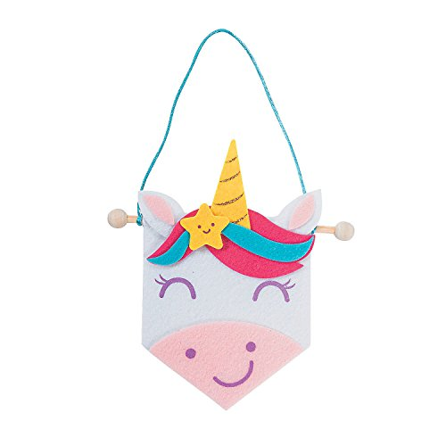 Fun Express Mini Unicorn Banner Craft Kit | Self-Adhesive Felt Pieces, Satin Cording, Banner with Wooden Dowel | Great for Themed Birthday Party, Children's Activity, Prizes & Favors, Makes 12