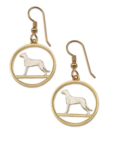 Irish Wolfhound Earrings, Ireland Coin Jewelry, 3/4