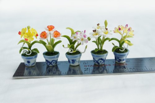 Dollhouse Orchid Flower Handmade Clay (set of 5)