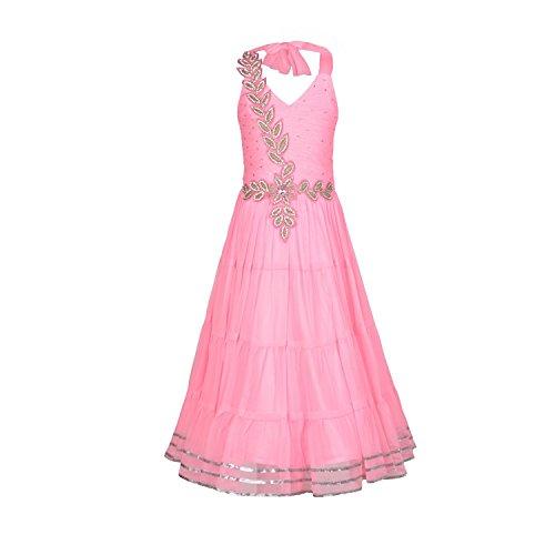Aarika Girl's Pink Self Design Party Wear Net Gown (2716-PINK_36_13-14 Years) by Aarika