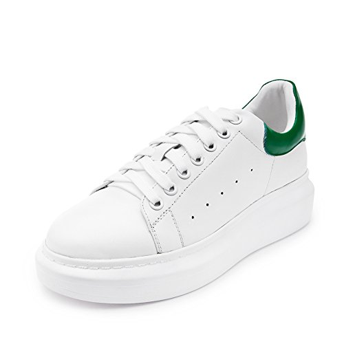Shenn Women s Informal WildLeather Sneakers Shoes 9289(White Green ... fc36a75dab