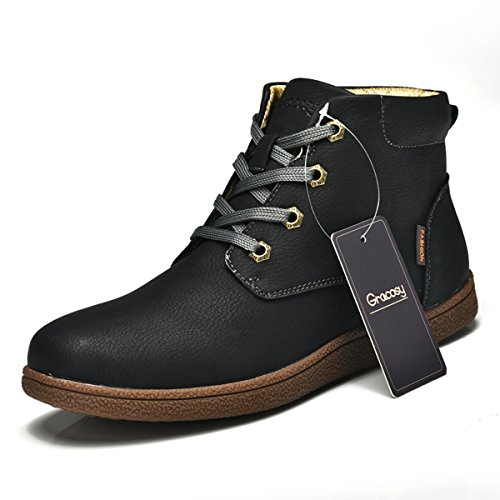Martin boots for Men,Gracosy Men's Fashion Leather Lace up Boots Winter Cotton Lining Shoes Waterproof Boots