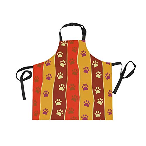 MALPLENA Adjustable Apron Bright Cats Or Dogs Paw Print and Stripes Depositp with Pocket & Extra-Long Ties Men and Women