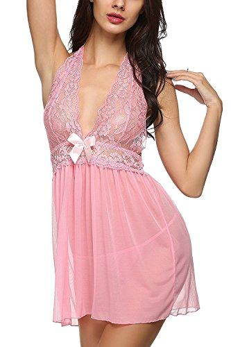 Angelia Daugh Women's Sexy Lingerie Lace Mesh 2-Piece