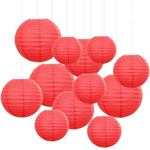 Red Paper Lanterns - 12PCS Paper Lanterns with Assorted Colors and Sizes Paper Lanterns Decorative,Chinese/Japanese Paper Hanging Decorations Ball Lanterns Lamps for Home Decor, Parties, and Weddings (Red)