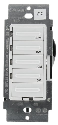 cora 600W Incandescent/5A Resistive 5-10-15-30 Minute Preset Countdown Timer, Single Pole, White (Leviton Wall Timer)