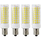 E12 led bulbs 75W 80W 100W replacement, 85W halogen bulbs equivalent 850lm, Dimmable e12 led light bulbs AC110V 120V 130 voltage Input, Daylight White 6000K,E12 led bulb, pack of 4