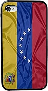 KOKOJIA Venezuela Flag Design iPhone 4 & 4s Black Case Cover (Black pc with bumper protection) for Apple iPhone 4 & 4s