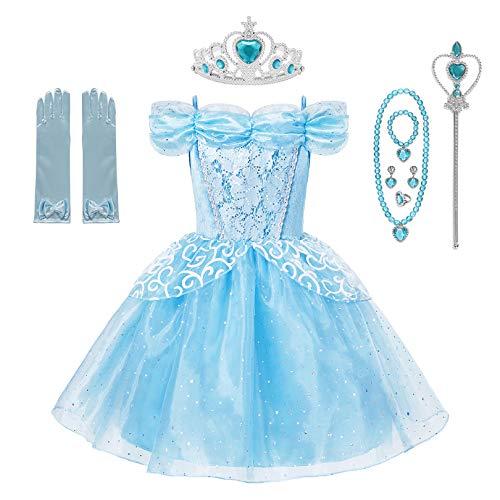 Little Girl Princess Belle Cinderella Sleeping Beauty Jasmine Costume Fancy Dress Up ()