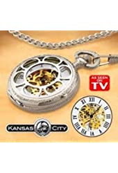 """Kansas City Railroad Pocket Watch Includes 26"""" Chain and FOB"""