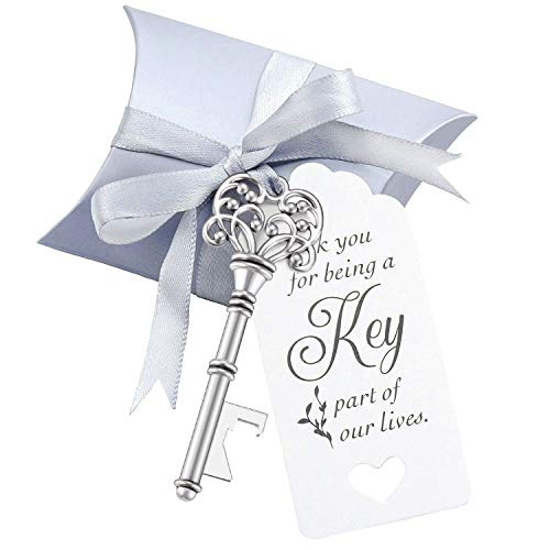 50 Sets Vintage Key Bottle Openers, Wedding Favor Souvenir Gift for Guests with Escort Card Thank You Tag Pillow Box and Satin Ribbon