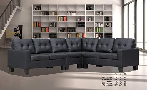 Wedge Upholstered Corner Fabric (Esofastore Living Room Furniture Formal Look Causal Modern Sectional Sofa Set Black PU Upholstered Cushion Loveseat Armless Chair Corner Wedge)