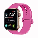 VATI Sport Band Compatible with Watch Band 40mm 44mm 42mm 38mm, Soft Silicone Sport Strap Replacement Bands Compatible with 2018 Watch Series 4/3/2/1, 38MM 40MM S/M (New Pink)