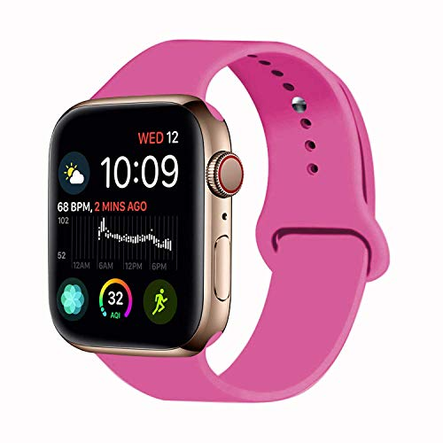 VATI Sport Band Compatible for Apple Watch Band 38mm 40mm, Soft Silicone Sport Strap Replacement Bands Compatible with 2018 iWatch Apple Watch Series 4/3/2/1, 38MM 40MM M/L (New Pink)