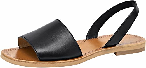 U-lite Women's 1.6 cm Low Heel Cow Leather Slingback Summer Sandals with Soft Whole Piece Cowhide Insole Black8.5 by U-lite