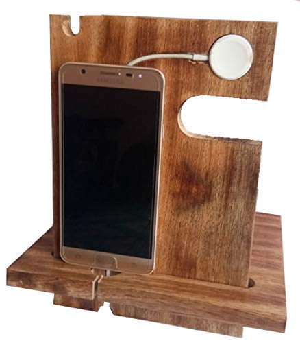 Labor Day Sale - ABHANDICRAFTS - Mango Wooden Android Docking Station, 50th for Couple, Funny, 6s Plus, 6s, 6 Plus, 6, 5, 5s, IWATCH-iPhone-Charging Dock