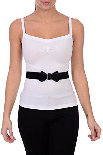 Sunny Belt Women's Faux Leather Stretch Velvet Chic Bow Belt Black ()