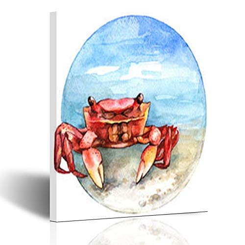 Homeyard Canvas Prints Wall Art Design Watercolor Crab Tropical On Beach Circle Ocean 12 x 12 Inches Wooden Framed Artwork Painting Home Decor Bedroom Office