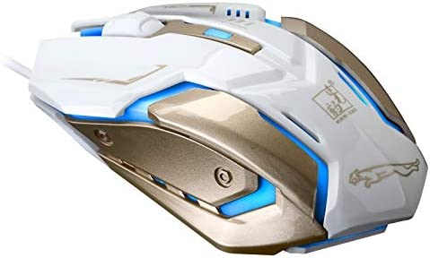 Length: 1.3m HUIFANGBU K1 USB 1600DPI Three-Speed Adjustable LED Backlight Mute Wired Optical Gaming Mouse Jet Black Color : Black White Black