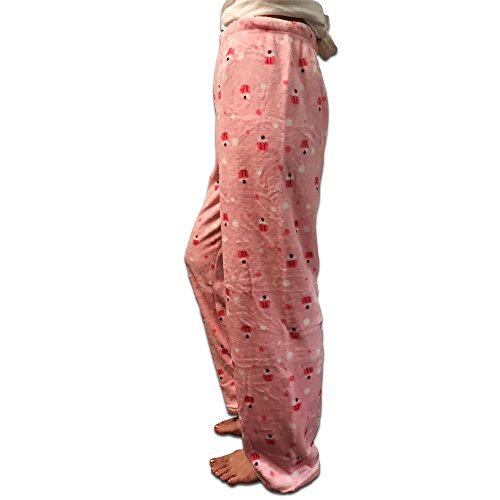 K.HOSIERY Warm Plush Pajama Pants - Cozy Comfortable Soft Fleece Pajamas Bottom Sweatpants Lounge Wear Cute Designs Cold Weather, Fall, Winter, Sleepwear, Pjs, etc - Cupcake Pink