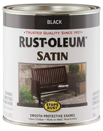 Rust-Oleum 7777502 Protective Enamel Paint Stops Rust, 32-Ounce, Black Satin Finish