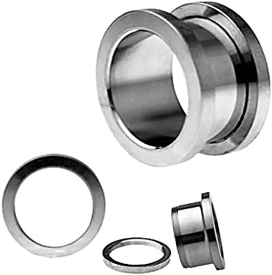 Holy Plug Body Piercing Jewelry Pair of 2 Stainless Steel Threaded Tunnel With Synthetic Pearl 000g 0000g 9//16 5//8 0g