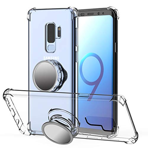 Galaxy S9 Case Clear,Galaxy S9 Case Kickstand,MISSCASE Premium Soft TPU Protecive Shockproof Case with Stand Grip Iron Mirror [Fit Car Mount] for Galaxy S9 2018 Clear