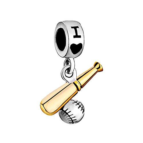 Football/Basketball/Baseball/Softball/Hockey/Soccer Sports Lover Bead Fits Pandora Charms Bracelet (I Love (Baseball Charm Bracelet)