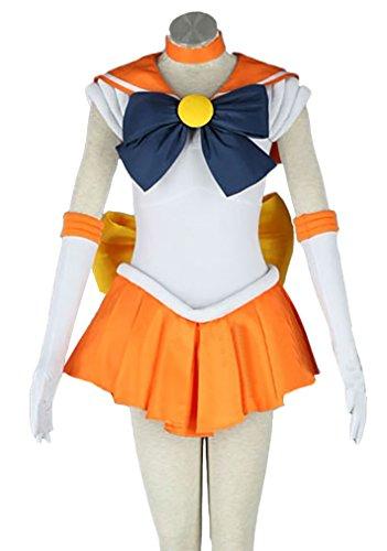 Halloween Deluxe Adult Women's Sailor Moon Costume Orange Full Set (L) (Sailor Halloween Costumes)