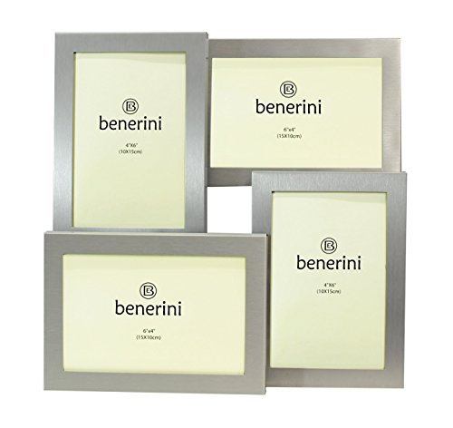 benerini Brushed Aluminum Satin Silver Color 4 Picture Multi Aperture Photo Frame Gift - Holds 4 photographs No. -