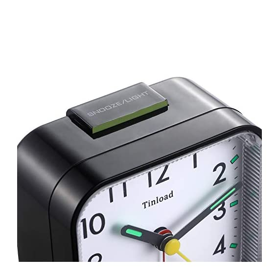 "Tinload Small Battery Operated Analog Alarm Clock Silent Non Ticking, Ascending Beep Sounds, Snooze,Light Functions, Easy Set(Black) - Compact Size -- measured at 3. 25"" x 3. 25"" x 1. 6"" , light weight (3. 5 oz), 1 AA battery operated, fits perfectly as a desk /bedside / nightstand wake up clock, but also great for travel alarm clock . Completely Silent - Super quiet concise design alarm clock without annoying tick tock sound, ideal for those who need complete silence to fall asleep. Snooze and Light Function- Snooze and light button locates on easy-to-find top place. Hold face down for 5 minutes snooze or to light up the clock face on demand to see the dial momentarily in the darkness. - clocks, bedroom-decor, bedroom - 41LvoLQif L. SS570  -"