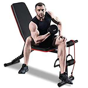 Adjustable Weight Bench Press Workout Bench Exercise Incline/Decline Strength Training Fitness Benches with Resistance Bands for Home Gym