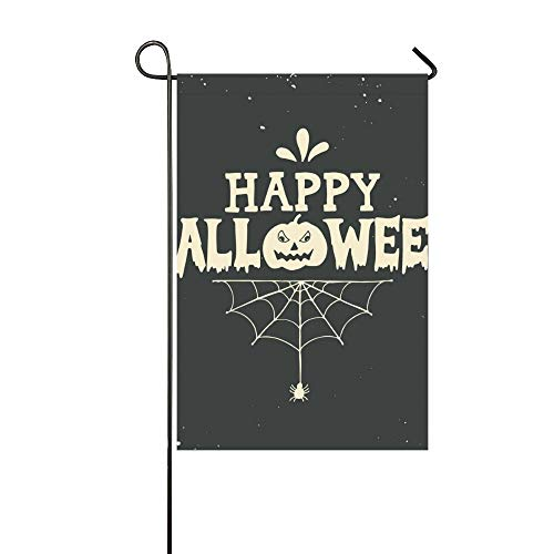 Home Decorative Outdoor Double Sided Hand Drawn Happy Halloween Lettering Pumpkin Garden Flag,house Yard Flag,garden Yard Decorations,seasonal Welcome Outdoor Flag 12 X 18 Inch Spring Summer Gift ()