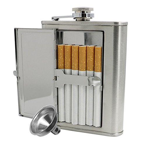 JUJOR Hip Flask with Built-In Cigarette Case (6 oz, (Stainless Steel Cigarette Case)