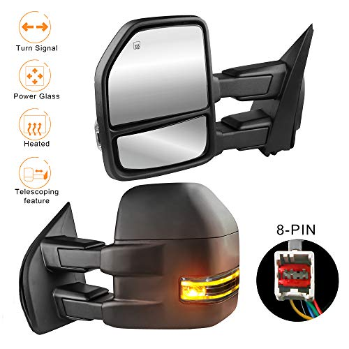 (MOSTPLUS New Power Heated Towing Mirrors for Ford F150 2015 2016 2017 w/Turn Signal-8 Pin Plug (Set of 2))