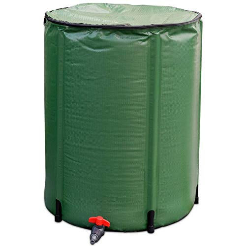 Goflame Rain Barrel Water Collector Portable Foldable Collapsible Tank,Spigot Filter Water Storage Container, Green (60 Gallon) ()
