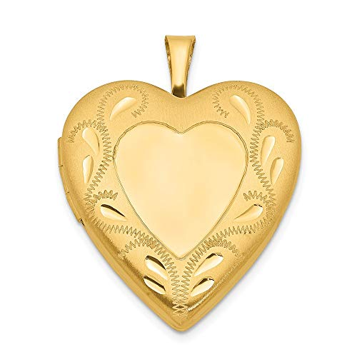 (1/20 Gold Filled 2 Frame 19mm Heart Photo Pendant Charm Locket Chain Necklace That Holds Pictures Fashion Jewelry Gifts For Women For Her)