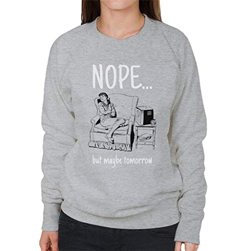 Women's Women's Women's Comic Sleeping Maybe Woman Heather But But But Retro Sweatshirt Nope 7 Cloud Grey Tomorrow City CTqwf