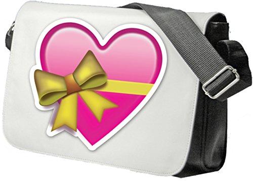 """Schultertasche """"Herz in Rosa/Pink als Geschenk verpackt mit Schleife"""" Schultasche, Sidebag, Handtasche, Sporttasche, Fitness, Rucksack, Emoji, Smiley"""