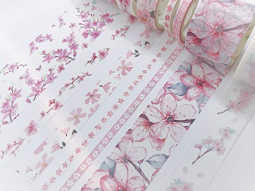 Cherry Blossom Sakura Print washi Tape Set of 7 Rolls. Incl Extra Wide Tape for scrapbooks, Gift wrap, Wall Paper Borders, Crafts and Decorating ()