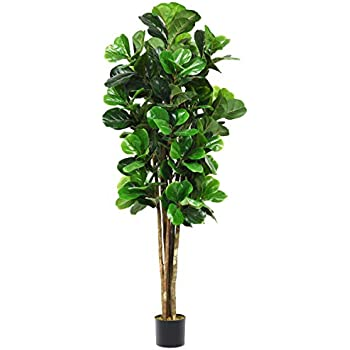 Goplus Fake Fiddle Leaf Fig Tree Artificial Greenery Plants in Pots Decorative Trees for Home & Office (6Ft Fiddle Leaf Fig Tree)