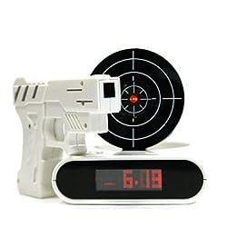 QINF Novelty Laser Gun Target Shooting Digital Alarm Clock (4xAA)