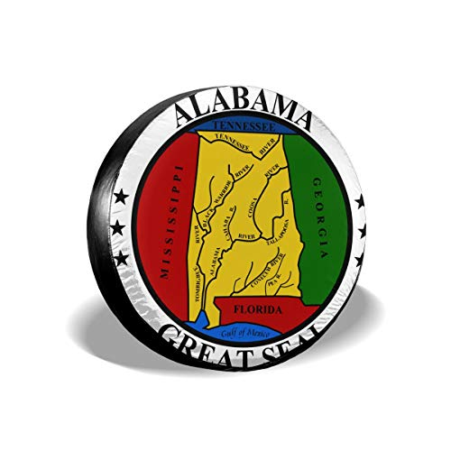 Wqi Home Alabama State Seal Tire Cover Universal Spare Wheel Tire Cover Funny Wheel Covers Fits Jeep Or Camper RV Accessories 14