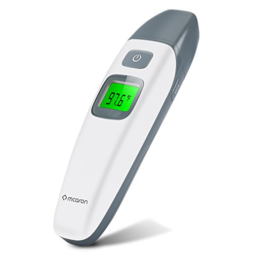 Mcaron Medical Forehead and Ear Thermometer for Baby, Kids and Adults - Infrared Digital Thermometer with Fever Indicator - CE and FDA Approved (White Color)