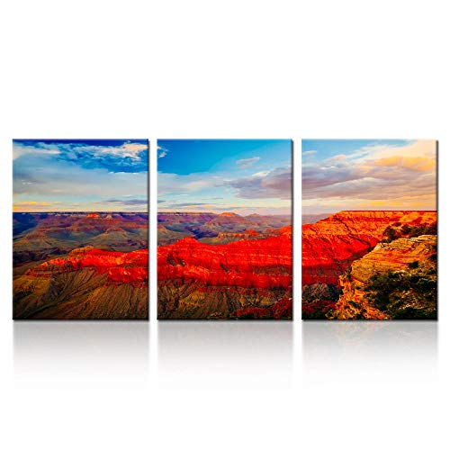 iK Canvs - 3 Piece Canvas Prints Grand Canyon National Park Arizona Wall Art USA Famous Place Sunset Landscape Pictures Modern Home Decor Stretched and Framed Ready to Hang 12x16inchx3pcs