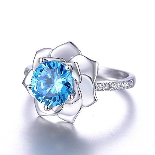 Merthus Womens 925 Sterling Silver Created Blue Topaz Lotus Flower Blossom Promise Engagement Ring