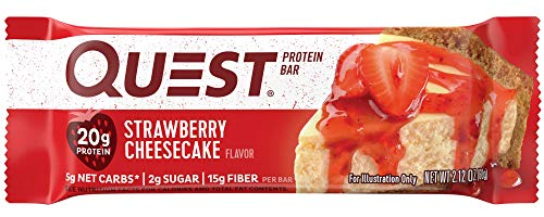 - Quest Nutrition Strawberry Cheesecake Protein Bar, High Protein, Low Carb, Gluten Free, Soy Free, Keto Friendly, 12 Count