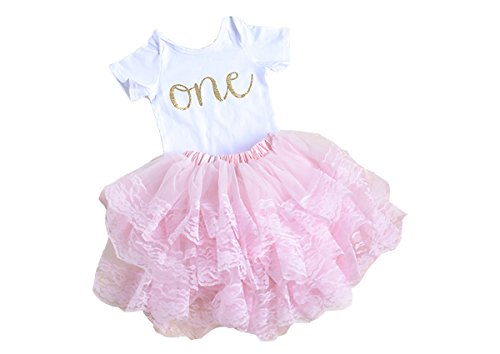 Scarlett Gene Pink First Birthday Outfit For Baby Girl, First Birthday Onesie Baby's First Birthday (12-18 (1st Birthday Iron)