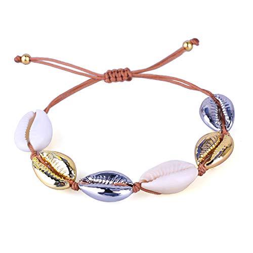 KELITCH Natural Shell Gold Shell Cowry Beaded Friendship Bracelets Boho Fashion Beach Seashell Strand Bracelets Women Jewelry (Mix Color)